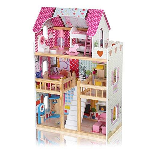 BABY VIVO Maison de Poupée en Bois pour Enfants Maison de Poupée de Chambre Villa résidentielle avec Escaliers Accessoires Miniature Meubles - Rosalie
