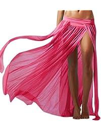 Chouette Femme Jupe de Fourche Maxi Longue en Maiile Voile de Plage Skirt Mince Extensible
