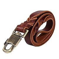 Laisse de chien en cuir souple, grand collier de dressage de chien et laisse tressé Chaîne pour Chiens animaux de compagnie Laisse corde brun