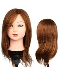 Tête à Coiffer Mannequin Femme d'Exercice Coiffure - 100% Cheveux Naturel Pour Etude Professionnel dans la Cosmétologie - Blond - Besmall