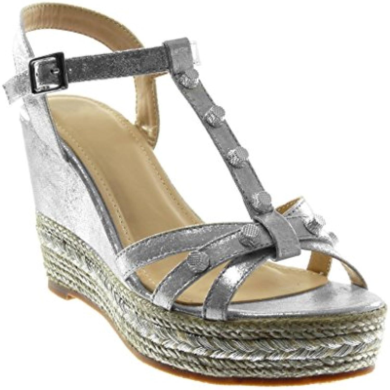 b3ab031e4433 Angkorly Platform - Women s Fashion nhta-30291 Shoes Sandals Mules - t-Bar  - Platform - Ankle Strap - Studded - Shiny - Cord Wedge Platform.