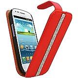 Samrick Bling Diamante Bande conçu spécialement Etui Flip en cuir pour Samsung i8190Galaxy S3Mini–Rouge