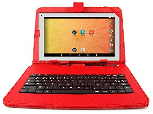 """Etui aspect cuir rouge + clavier intégré AZERTY pour Artizlee Tablette Tactile 3G ATL-21 10,1"""" 16Go et ATL-26 9,6"""" 16Go avec stylet tactile BONUS - Garantie 2 an"""