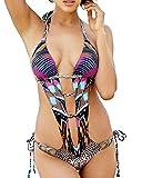SaiDeng Siamese Stampa Stampa Bikini Costume Da Bagno Donna Bikini Bikini Giallo S
