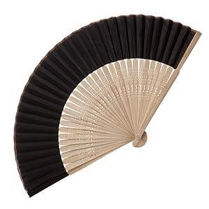 eBuyGB - Abanico de madera de bambú, accesorio de boda y regalo, color negro
