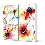 creatisto Möbel-Folie Sticker für IKEA Pax Schrank 201 cm Höhe - Schiebetür | Dekorsticker Klebefolie Möbeltattoo | Einrichtung gestalten Gestaltungsideen | Design Motiv Water Color Flowers