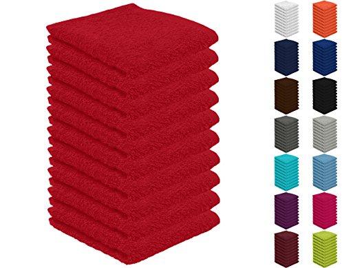 10er Pack Seiftücher, Seiflappen in vielen Farben 30x30 cm Rot 100% Baumwolle