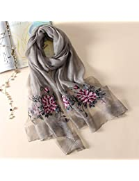 HITSAN INCORPORATION silk scarf women fashion Stereoscopic embroidered silk  scarves high quality shawl wrap winter neck scarf femme hijab… 69eb2a0952d