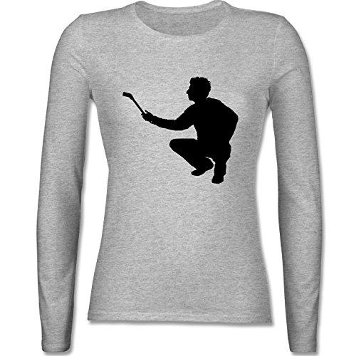 Handwerk - Maler - tailliertes Longsleeve / langärmeliges T-Shirt für Damen Grau Meliert