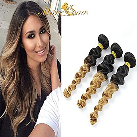 Moresoo 18pouces/45cm 1 Bundle Ombre Naturel Noir /Platinum Blonde(1b/27) 100% Bresilien Remy Humain Cheveux Naturel Loose Wave/Ondules 100gram