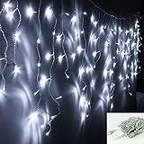 VINGO LED Eisregen Lichternetz Lichterkette Wasserdicht für Wedding Weihnachten Festlich außen Schaufenster (600leds Kalt-weiss)