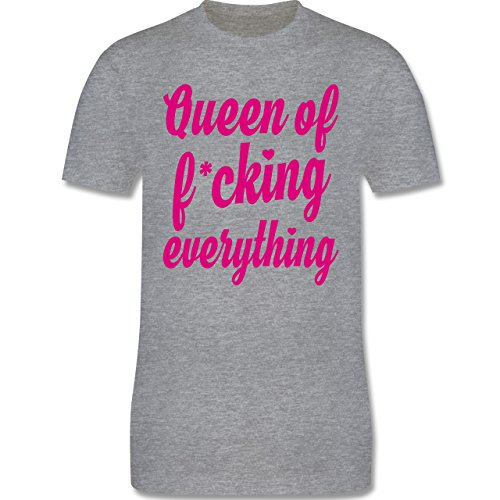 Shirtracer Statement Shirts - Queen of Fucking Everything - Herren T-Shirt Rundhals Grau Meliert