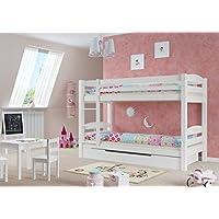 Preisvergleich für Erst-Holz® Etagenbett Kiefer waschweiß 90x200 mit Rollrost Bettkasten Kinderstockbett Hohes Bett 60.10-09 W S1