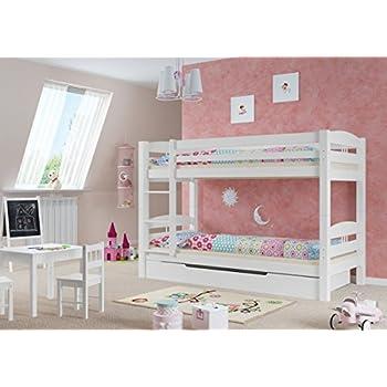 Kinder Stockbett etagenbett kiefer waschweiß 90x200 mit rollrost bettkasten