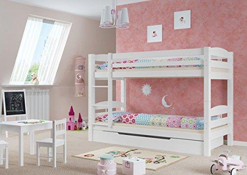 Erst-Holz® Etagenbett Kiefer waschweiß 90x200 mit Rollrost Bettkasten Kinderstockbett Hohes Bett 60.10-09 W S1