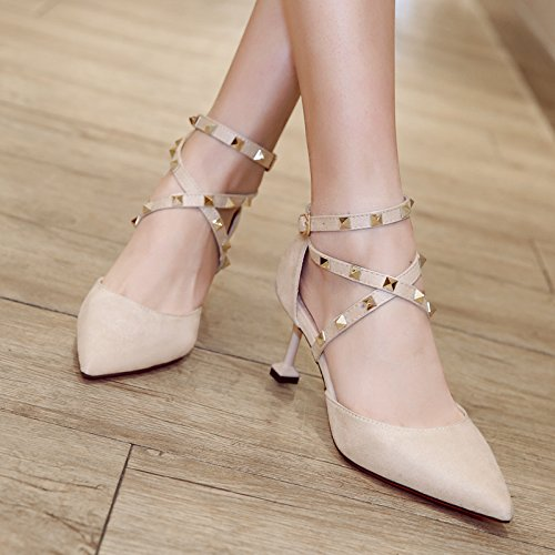 Xue Qiqi Court Schuhe Wildleder Rivet Cross Strap kleine frische High Heels fein mit Damenschuhe Schuhe, 38, beige -