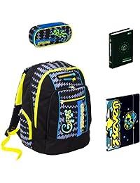 b827addb44 Seven Zaino Scuola Advanced Gecko Boy Nero + portapenne + Diario BD +  Cartellina A4