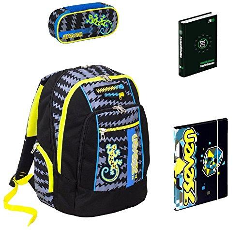 Seven Zaino scuola advanced Gecko BOY Nero + portapenne + Diario BD + Cartellina A4
