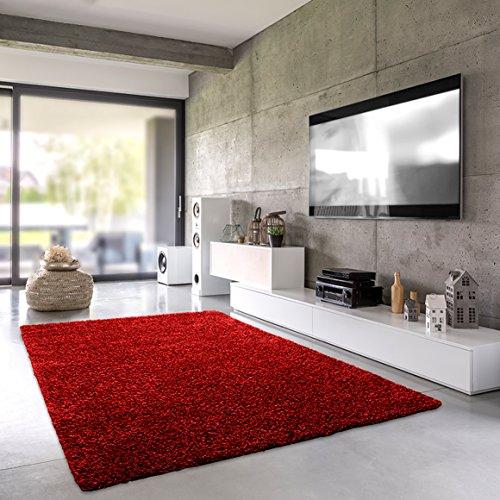 Shaggy-Teppich | Flauschiger Hochflor fürs Wohnzimmer, Schlafzimmer oder Kinderzimmer | einfarbig, schadstoffgeprüft, allergikergeeignet in Farbe: Rot; Größe: 60 x 90 cm