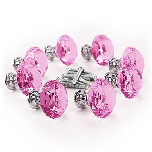 winomo Diamant Kristall Glas Türknauf Küche Schrank Schrank Kleiderschrank Schublade Pull Griff 8/Set 30mm (Pink)