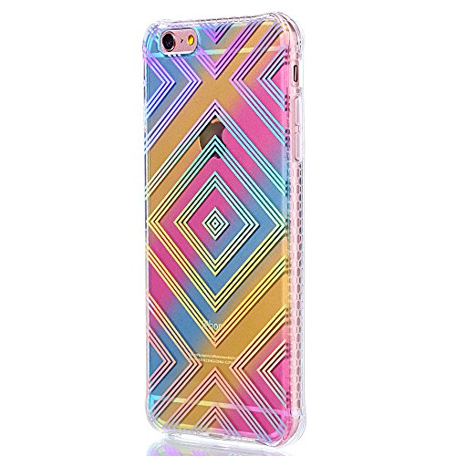 "Protecteur étui pour Apple iPhone 6Plus/6sPlus 5.5""(NON iPhone 6/6s 4.7""), CLTPY Mode Beau Arc en Ciel Plating Impression Peint Motif Case en Souple Caoutchouc Ultra Fine Slim Transparente Bumper Shel Diamant Géométrique"