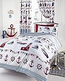 NAUTICAL BOAT SHIP LIGHTHOUSE REVERSIBLE SINGLE DUVET COVER BEDDING SET WHITE