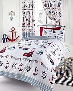 Parure de lit housse de couette Marine Bateau nautique encre enfant