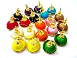 #8: GOELX Small Mini Silk Thread Women's Jhumki Earring 10 Popular Color Combo Set