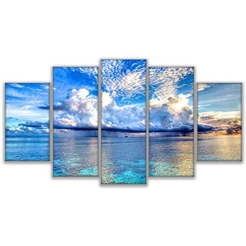 RQMQRL Canvas Paintings Home Decor Room HD Prints Pictures Frame 5 Pieces Crystal Clear Blue Sky White Clouds Seascape Poster Wall Art