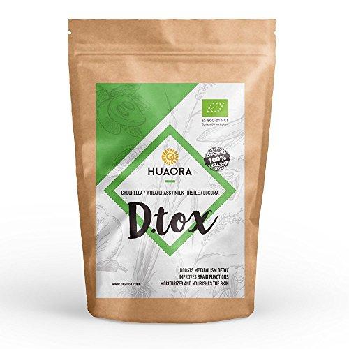 Huaora D.Tox - Repleto de nutrientes para reforzar el sistema inmunitario y cuidar la salud de la piel / Certificado como producto orgánico / Agregue a bebidas y smoothies