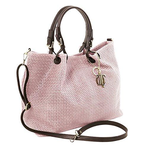 Tuscany Leather TL KeyLuck - Sac shopping TL SMART en cuir imprimé tressé - Grand modèle - TL141568 (Noir) Lilas