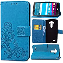 Funda Para LG G4 (5.5pulgada) , pinlu® Alta Calidad Función de plegado Flip Wallet Case Cover Carcasa Piel PU Billetera Soporte Con Trébol de la suerte Azul