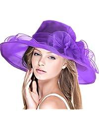 Dafunna Sombrero De Sol Kentucky Derby Organza De Flores Plegable De ala  Ancha Mujer para Iglesia 5bc62f518b2