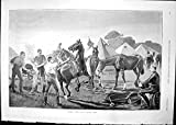 Old Original Antique Victorian Print Farriers Section Cavalry Camp M Clarke Making Horse Shoe 1891 918T135
