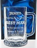 Engraved/Personalised Pub Pint Glass BEST MAN Tankard in Silk Gift Box