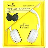 Vingajoy VT-6100 Wireless Bluetooth Headphone With Card Support And Pure Stereo Wireless Sound - Color (WHITE) Color May Vary