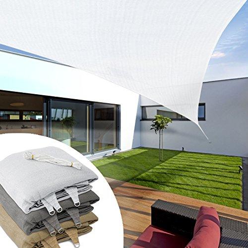 Voile d'ombrage triangulaire casa pura® balcon, pergola, jardin | polyéthylène, résistant | triangle, anti uv - 3x3x3m, blanc