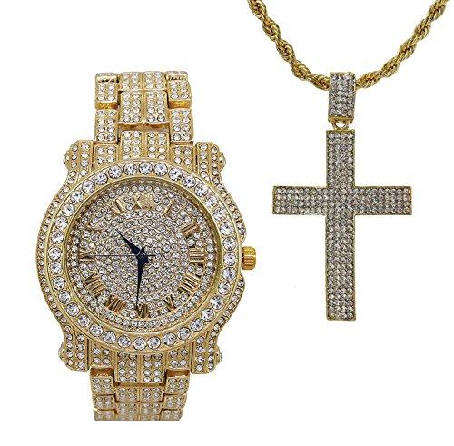 e mit Anhänger aus 10 Jesus Stücken, die du musstest besitzen musst - Ice'd Out Kreuz mit goldfarbener Halskette ()