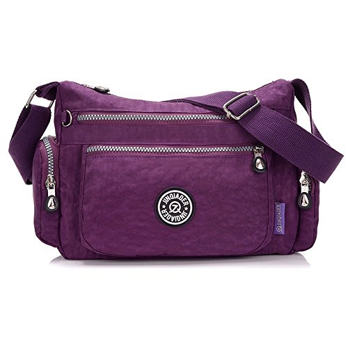 Suzone da donna in nylon borsa messenger a tracolla zainetto sportivo Pack Leisure borsa a tracolla, donna, Stars Purple