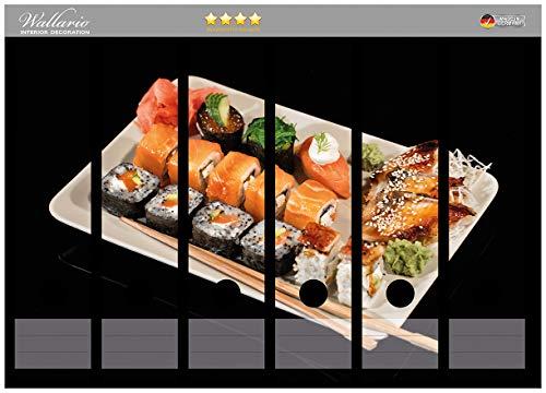 Wallario Ordnerrücken Sticker Sushi-Menü mit Inside-Out Sushi, Nigiri und Wasabi in Premiumqualität - Größe 36 x 30 cm, passend für 6 breite Ordnerrücken