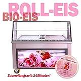 Profi Rolleismaschine mit zwei Eisplatten 45x45cm und zwei Kompressoren. Zubereitungszeit 2-3Min. Fried ICE Cream Rolls Machine