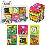 NEWSTYLE Libros Blandos para Bebé,Libro de Cognición del bebé Libro de Tela de Educación Temprana Juguete Mano Libro Animal Figura de Cognición Anti-Tear Libro de Tela, 6 PCS