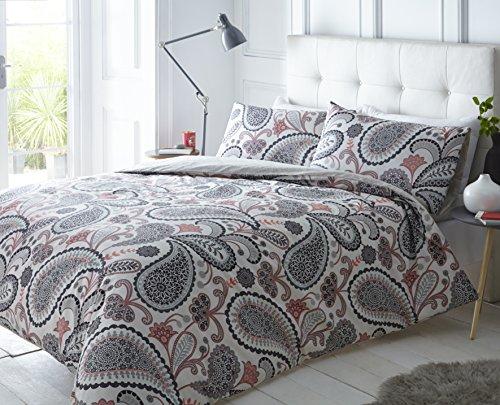 weißlinge Paisley Shell Rosa Bettbezug und Kissenbezug Set Bettwäsche Digital Print Quilt Fall Single Double King Betten Schlafzimmer Sofa, grau, Einzelbett (Bettwäsche Shell)