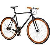 28' Fixie Singlespeed Bike Viking Blade 5 Farben zur Auswahl, Farbe: Schwarz / Orange; Rahmengrösse: 59 cm