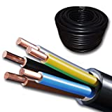 Starkstromkabel - NYY-J 5x4 mm² - Kunststoff Erdkabel - 20m / 20 m / 20 Meter - schwarz