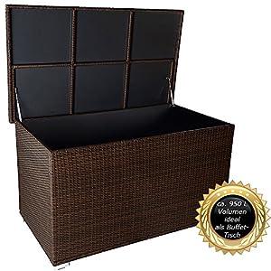 RS Trade 'Venezia' 950 L Polyrattan Garten Kissenbox wetterfest (regnet Nicht rein) 146 x 83 x 80 cm, Auflagenbox mit verstärktem Deckel und Gasdruckfedern, auch als Tischplatte geeignet, Natur