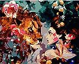WEIMEING La Bella Y La Bestia Wallpaper Pintura por Números DIY Pintura AcrílicaModernasobre Lienzo Pintado A Mano Decoración del Hogar Regalo Sin Marco 40X50 Cm