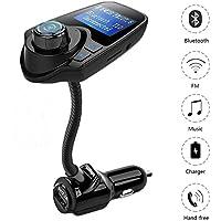 Trasmettitore FM, Bluetooth Wireless Music Radio adattatore per auto, con caricatore USB, Chiamate in vivavoce per smartphone, tablet, TF, MP3/MP4e più nero (t10-black)