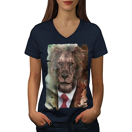 Lustige Den Menschen Katze Für Kostüm - wellcoda Herr Löwe Gesicht Wild Tier Frau V-Ausschnitt T-Shirt Mensch Grafikdesign-T-Stück