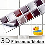7er Set 25,3 x 3,7 cm Fliesenaufkleber rot beige silber Mosaik I 3D selbstklebend Fliesen Küche Bad Wandaufkleber Fliesendekor Folie Grandora W5190